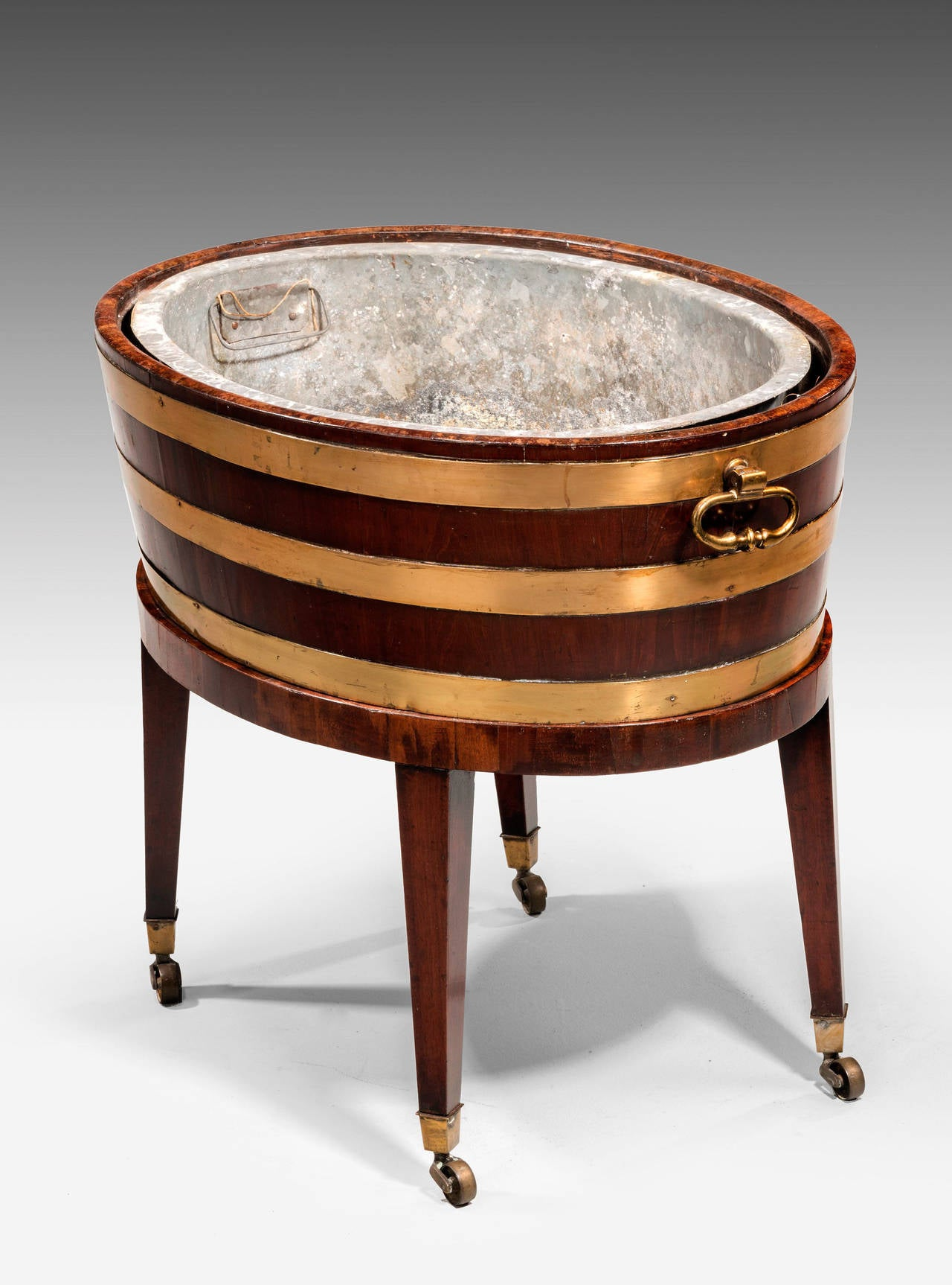 Attractive Mahogany 18th Century Brass Bound Wine Cooler 3