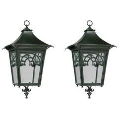 Pair of Four Glass Bronze Lanterns