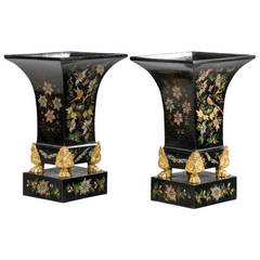 Pair of Mid-19th Century Tole Vases