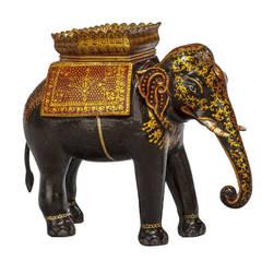 Early 20th Century Polychrome Caparisoned Elephant