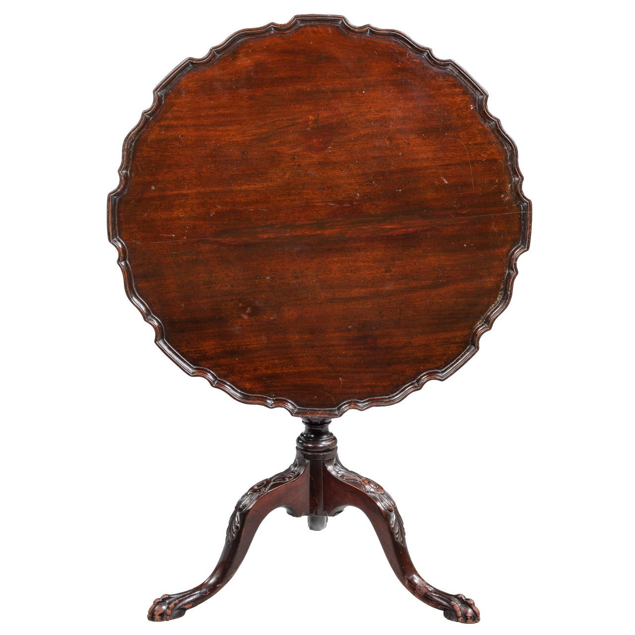 Chippendale Style Mahogany Dish-Top Tilt Table