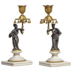 Pair of Regency Period Gilt Bronze Candlesticks