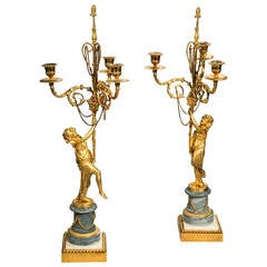 Pair of Louis XVI Period Gilt Bronze Three-Arm Candelabras