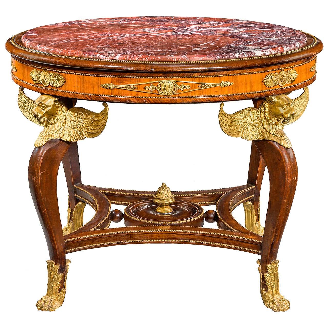 19th Century French Mahogany Kingwood Centre Table