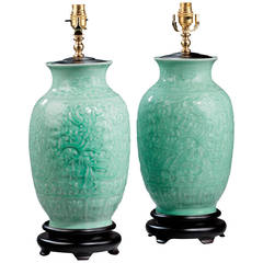 Pair of 20th century Celadon Green Ovoid Lamps