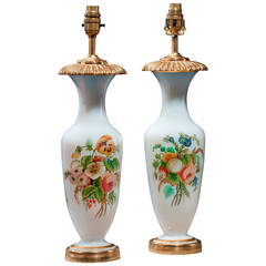 Pair of Early 20th Century French Opaline Lamps