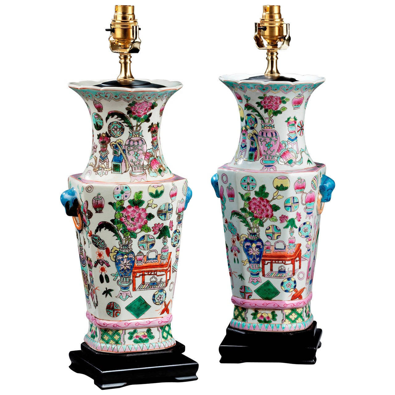 Pair of 20th Century Canton Pottery Lamps