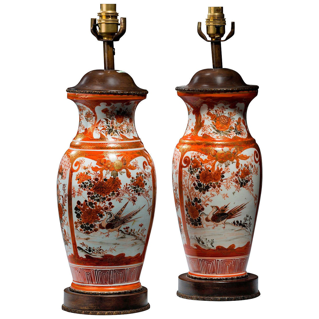 Pair of early 20th century Japanese Porcelain Vase Lamps