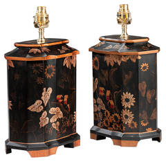 "Pair of 20th Century Black Ground ""Tea Jar' Lamps"
