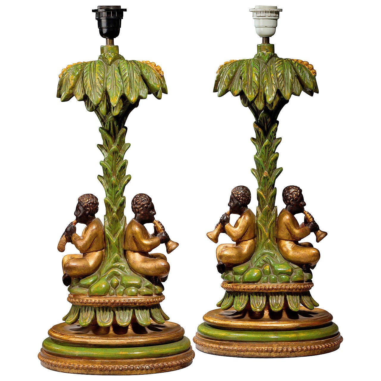 Pair of Mid-20th Century Lamps, Children Playing Horns