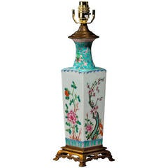 Late 19th century Canton Porcelain Square Vase Lamp