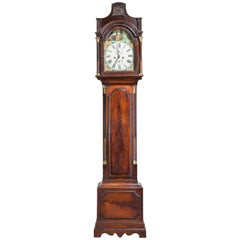 19th Century Mahogany Painted Dial Long Case Clock