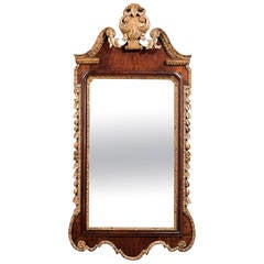 George II Period Walnut and Parcel-Gilt Mirror