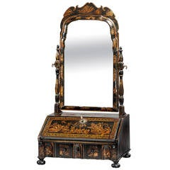 Queen Anne Period Lacquered Dressing Mirror