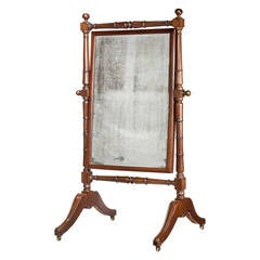 Regency Period Mahogany Cheval Mirror