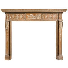 George lll Period Pine And Gesso Neo-Classical Fire Surround