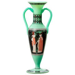 French Opaline Two Handled Vase