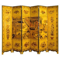 Mid to Late 19th Century Six Fold Screen