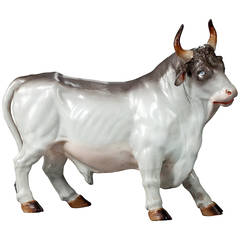 19th Century Continental Porcelain Bull