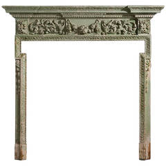 Mid-19th Century Pine and Gesso Fire Surround
