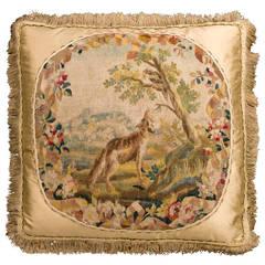 Cushion: Mid-18th Century, Wool. A Hound Stalking a Bird
