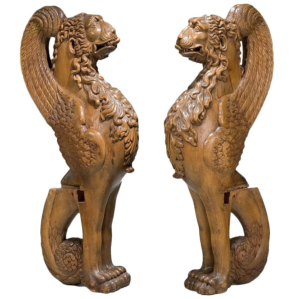 Pair of 16th Century French Walnut Chimeras For Sale
