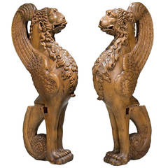 Pair of 16th Century French Walnut Chimeras