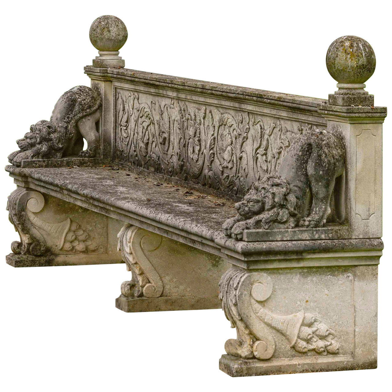 Late 20th Century Carved Stone Bench At 1stdibs