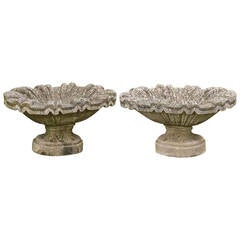 Pair of 20th Century Shallow Urns with Oval Bases
