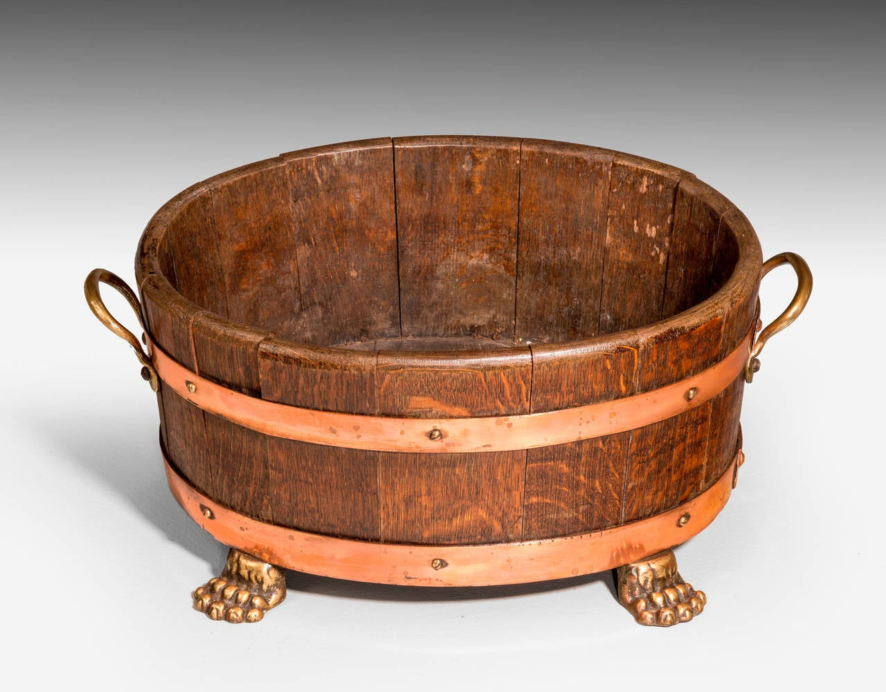 British Early 20th Century Oak Coopered Planter For Sale