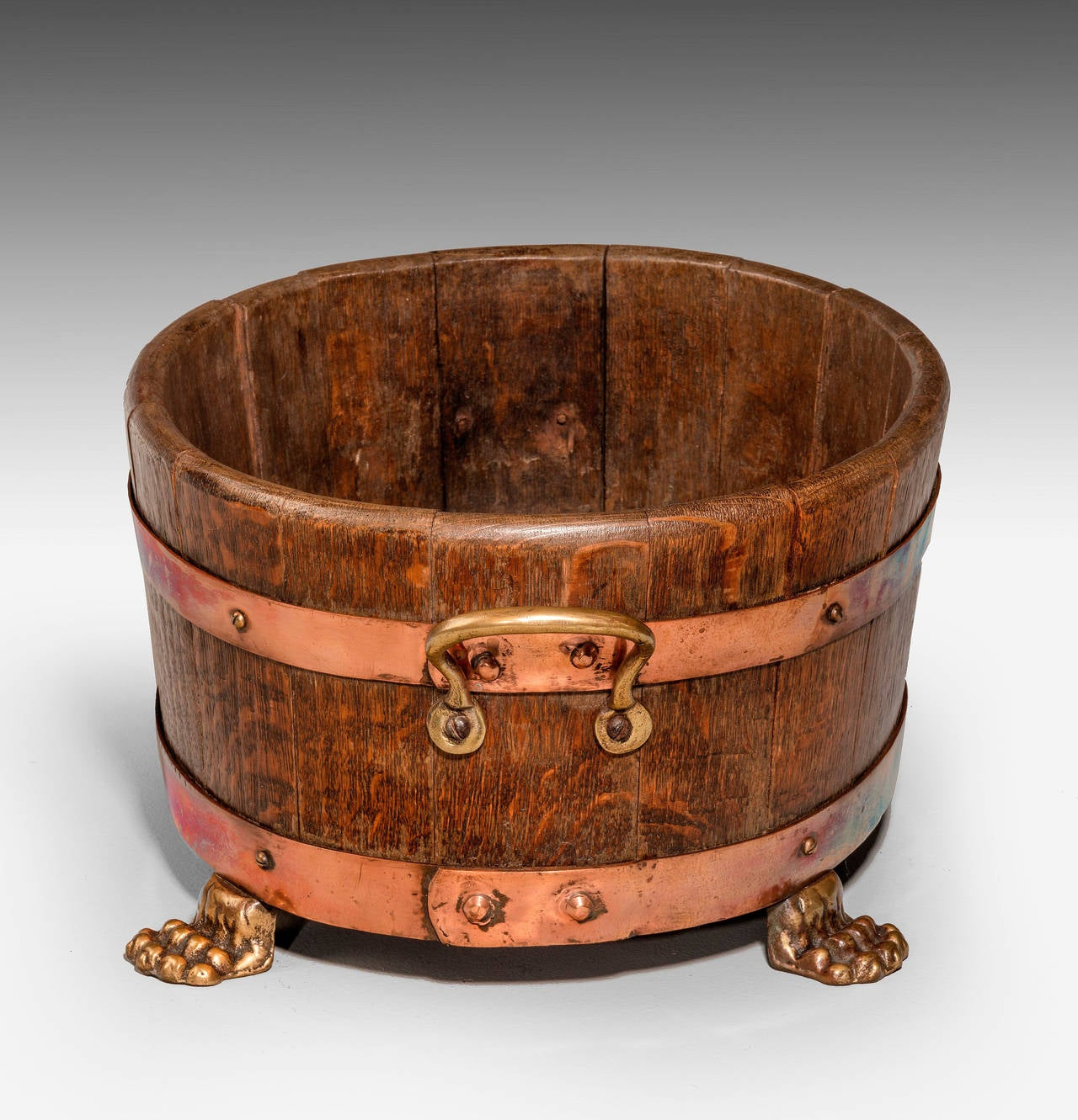 Early 20th Century Oak Coopered Planter For Sale 1