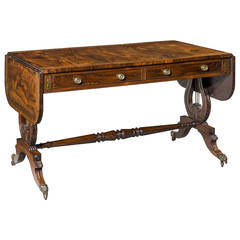 Regency Period Sofa Table with Lyre End Supports