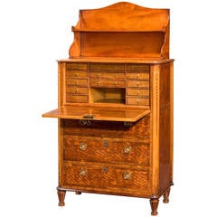 18th Century Satinwood Secrétaire Abattant
