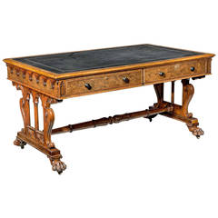 19th Century Oak Library Table In the Manner of Gillows