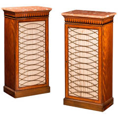 Pair of 19th Century Satinwood Pier Cabinets