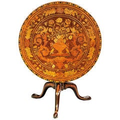 19th Century Dutch Marquetry Inlaid Tilt Table