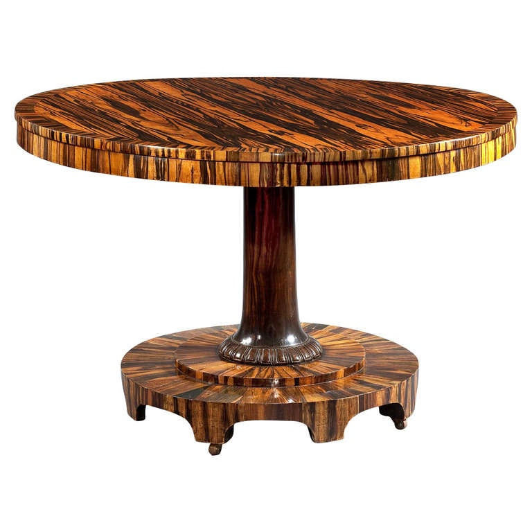 Center Table Wood : Regency Inlaid Calamander Wood Center Table at 1stdibs
