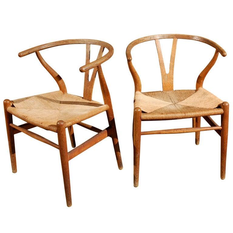 hans wegner y wishbone chairs for c hansen at 1stdibs. Black Bedroom Furniture Sets. Home Design Ideas