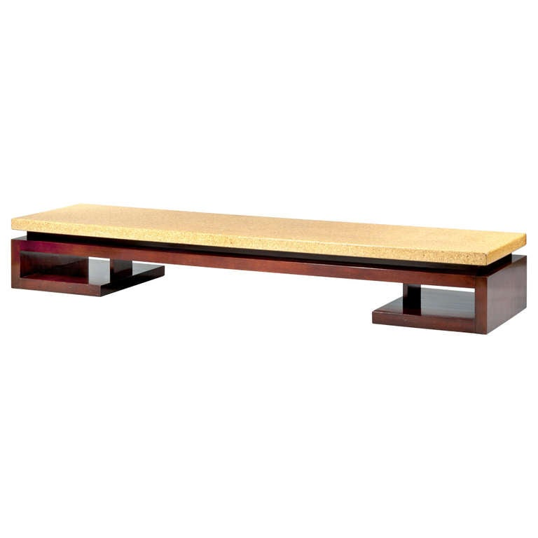 Long Low Coffee Table: Long Mahogany Low Table With Cork Top At 1stdibs