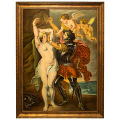 Painted glass depicting Perseus assisted by two angels to release Andromeda