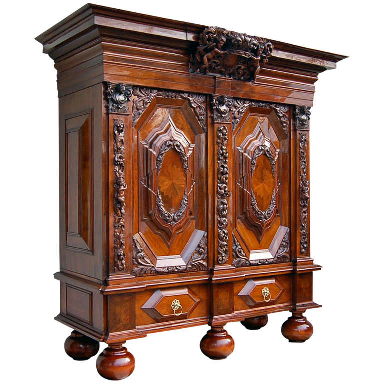 Authentic Baroque Style Cabinet From Hamburg About 1700