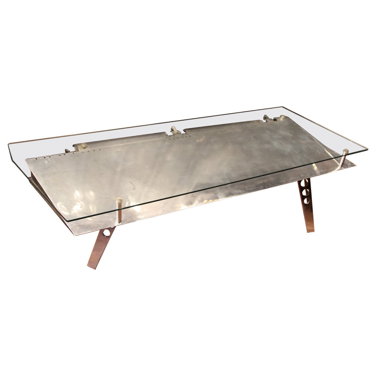 Polished Aluminum And Glass Aviation Coffee Table