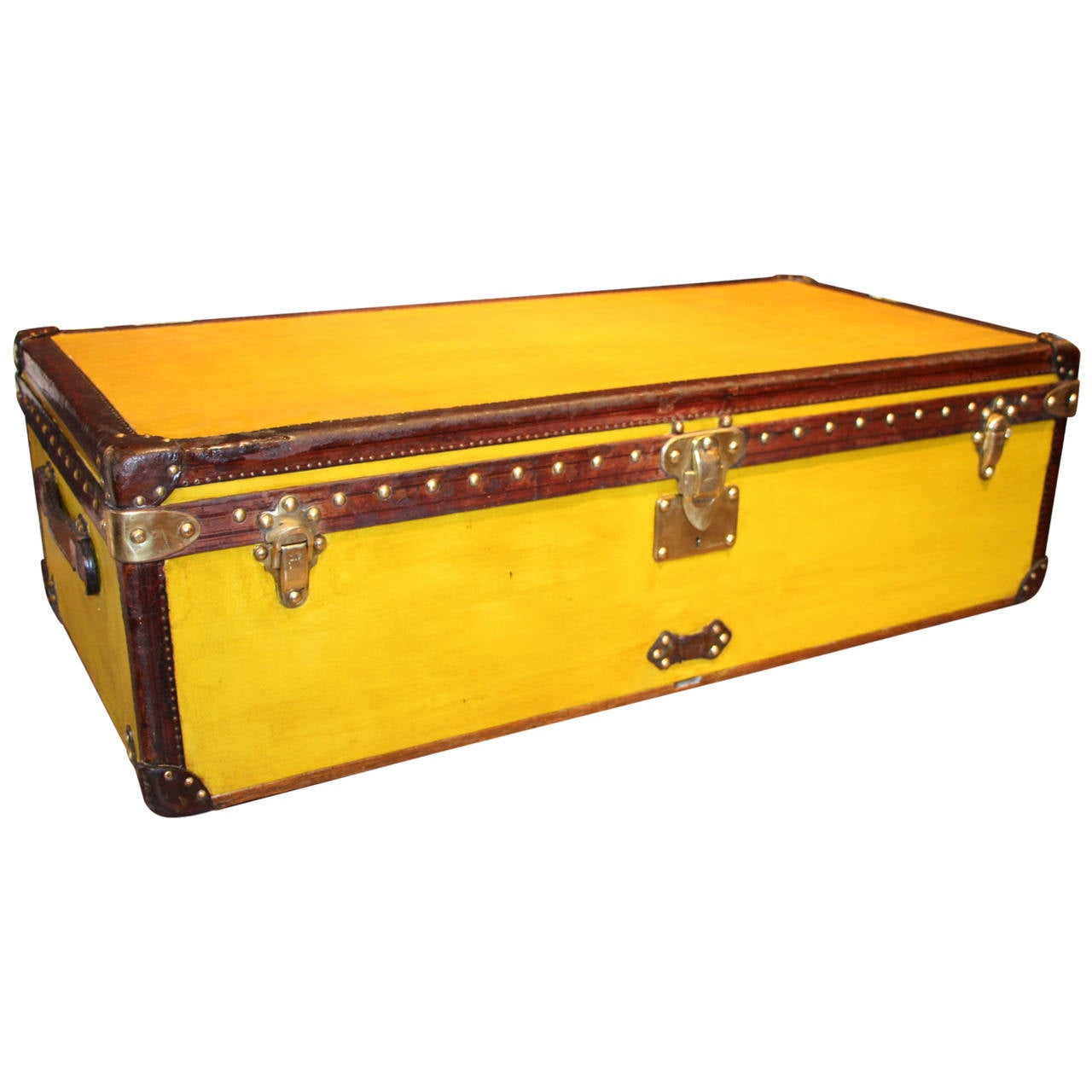 Lv Trunk Coffee Table: 1910's Yellow Canvas And Leather Louis Vuitton Cabin Trunk