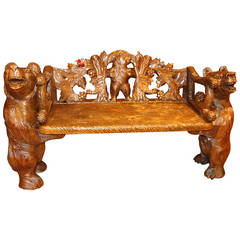 Black Forest Carved Bears Bench