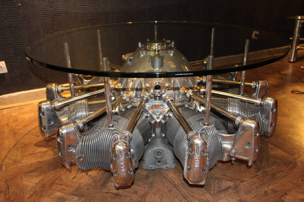1930s Seven-Cylinder Jacobs Aircraft Engine Coffee Table