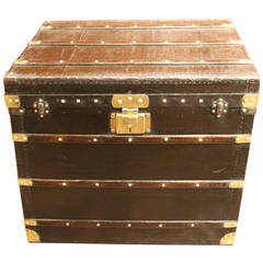 1900s French Black Steamer Trunk