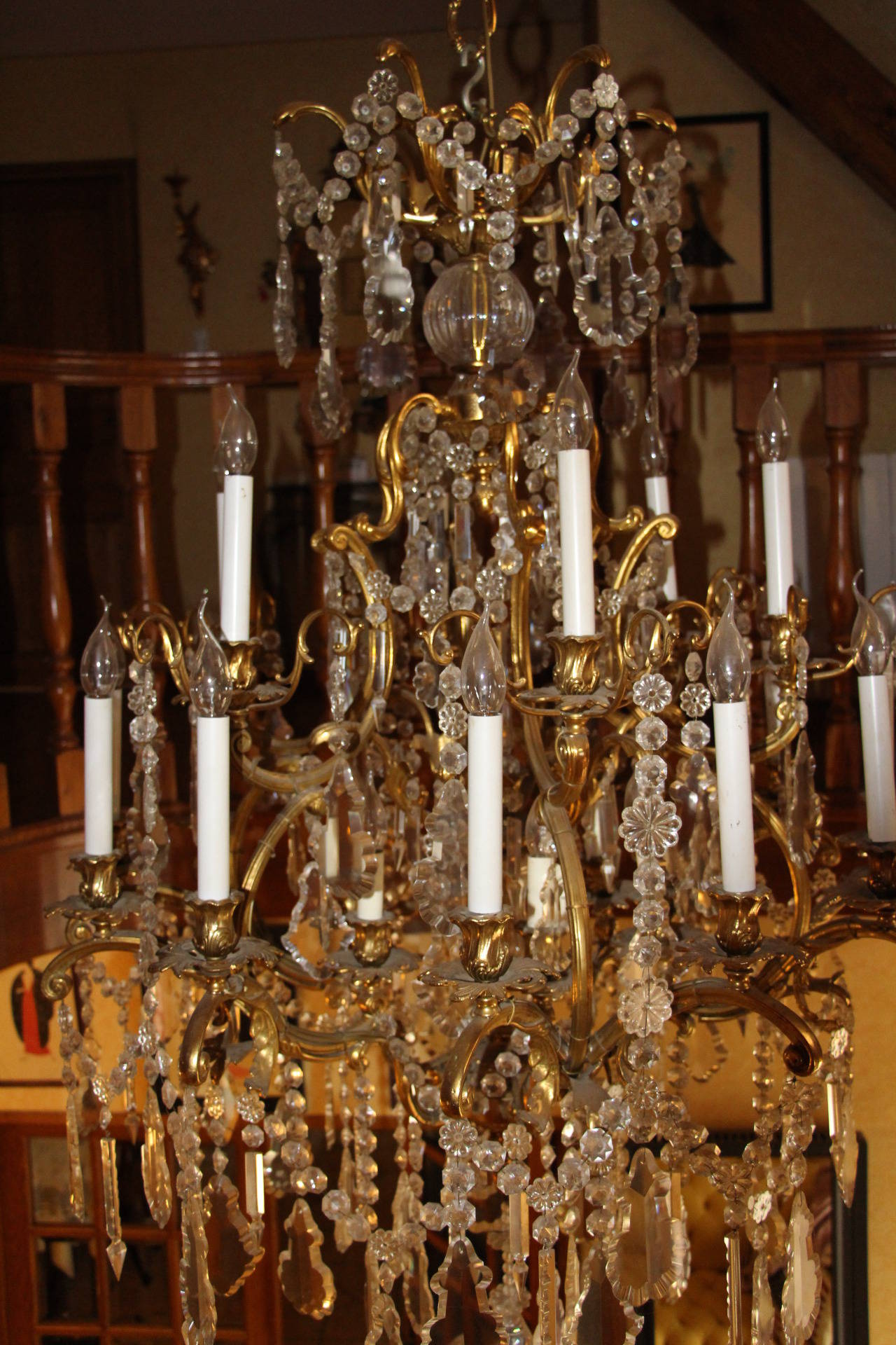 20th Century Louis XV Style Bronze and Crystal Chandelier For Sale