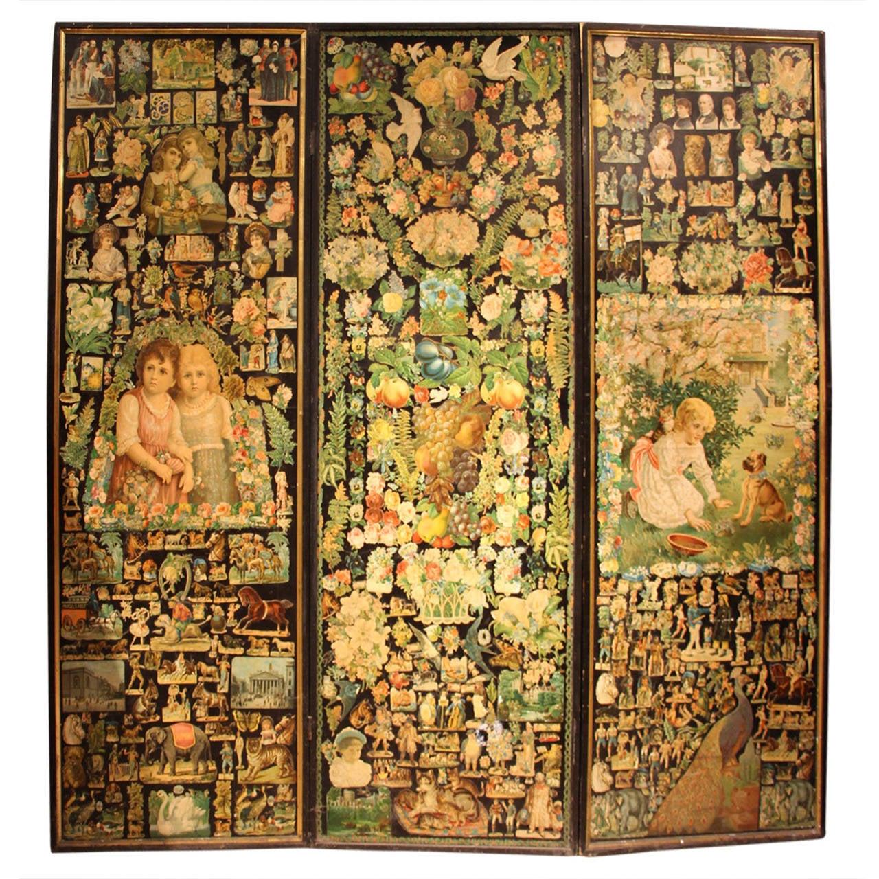 1880s Paper Decoupage Three-Fold Screen