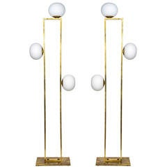 Glustin Luminaires Creation Rectangular Floor Lamps with Globes