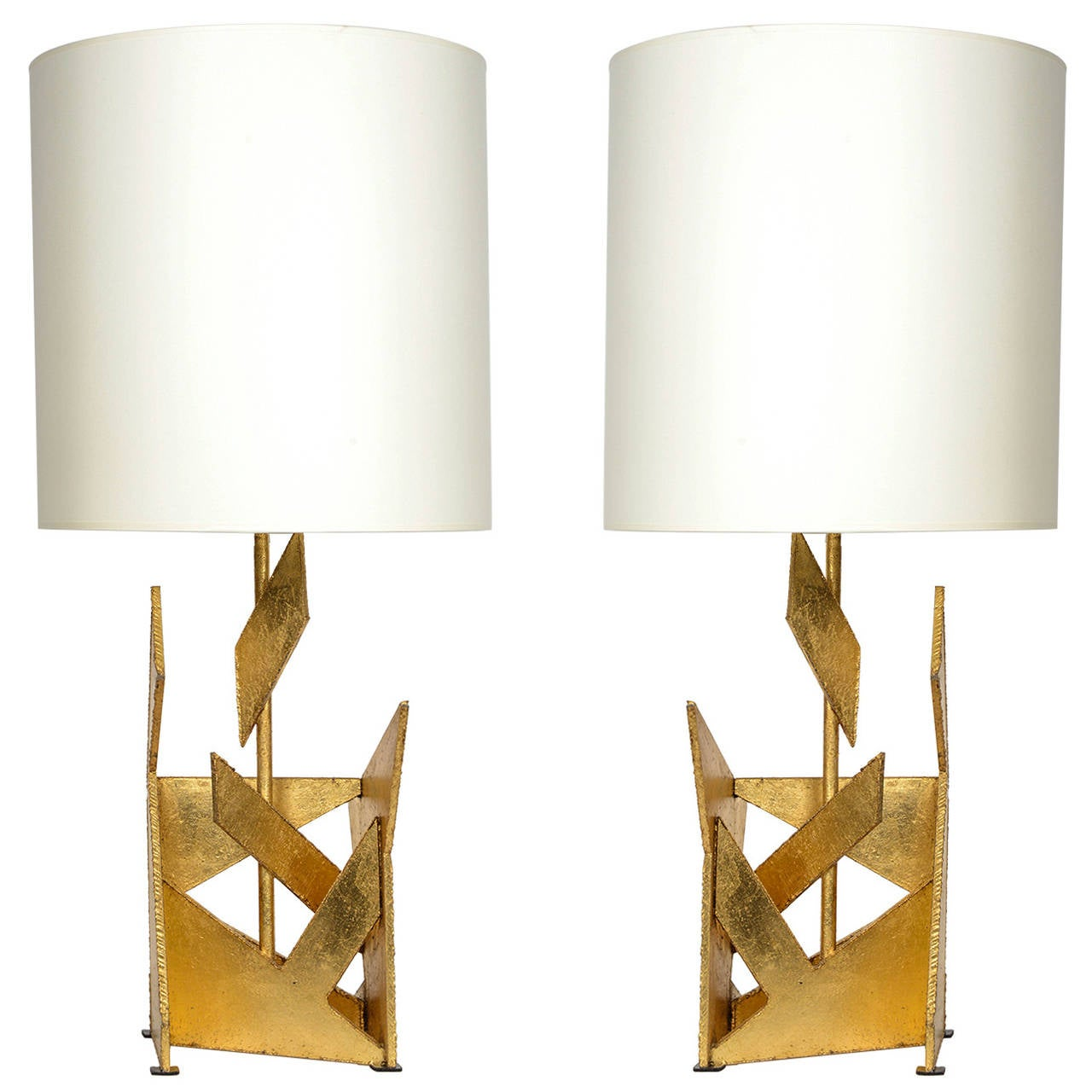 Pair of Asymmetrical Gold Painted Metal Lamps
